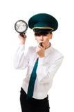 Sicherheitsfrau mit heller Schlagpfeife Stockfotografie