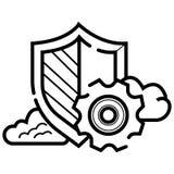 Sicherheitsikone mit Einstellungsvektor vektor abbildung