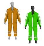 Sicherheitsjacke und -hosen eingestellt auf Mannequin Stockfotografie