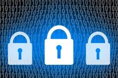 Sicherheitskonzept, abstrakte Vorhängeschlossikone auf digitalem Zahl backgr Lizenzfreies Stockfoto
