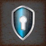 Sicherheitskonzept: blaues Schild Stockfotografie