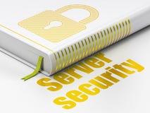 Sicherheitskonzept: buchen Sie geschlossenes Vorhängeschloß, Server-Sicherheit auf Weiß Lizenzfreie Stockbilder
