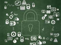 Sicherheitskonzept: Geschlossenes Vorhängeschloß auf Schulbehörde Lizenzfreies Stockbild