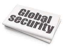 Sicherheitskonzept: Globale Sicherheit auf leerem Zeitungshintergrund Stockfotografie