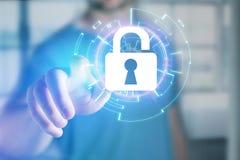 Sicherheitskonzept mit einem Schließfach offen auf einer Internet-Anwendung - stockbild