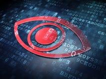 Sicherheitskonzept: Red Eye auf digitalem Hintergrund Stockfotografie
