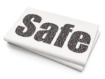 Sicherheitskonzept: Safe auf leerem Zeitungshintergrund Stockbild
