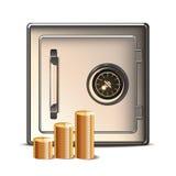 Metallsafe mit Goldmünze-Ikone. Lizenzfreie Stockbilder