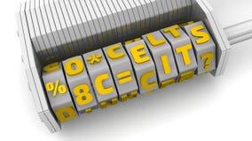 Sicherheitskonzepte Code auf einem Kombinationsvorhängeschloß stock abbildung