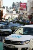 Sicherheitskräfte UNO (Vereinte Nationen) auf Krippen-Straße, Bethlehem lizenzfreies stockfoto