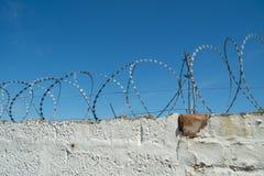 Sicherheitsmaßnahme auf Backsteinmauer unter Verwendung des Rasiermesserdrahtes lizenzfreies stockbild