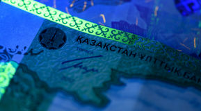 Sicherheitsmerkmale auf Banknote im UV-Licht-Schutz Stockfoto