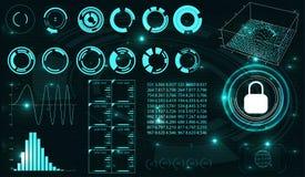 Sicherheitsschirm Futuristische Benutzerschnittstelle Stockfotografie