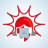 Sicherheitssystemdesign, Warnung und Technologiekonzept Stockfoto