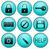 Sicherheitsvektorweb-Ikonen Lizenzfreies Stockbild