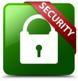 Sicherheitsvorhängeschlossikonengrün-Quadratknopf Stockbilder