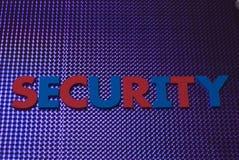 Sicherheitswort auf blauem Neonhintergrund Lizenzfreies Stockbild
