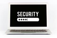 Sicherheitszeichenklotz Geheimes Passwort Abbildung des Laptops Stockfotos
