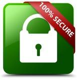 100% sichern grünen quadratischen Knopf Stockfotografie