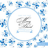 Sichern Sie die Datumskarte Blaue Blumengezeichnetes Design des Aquarells Hand Stockbild