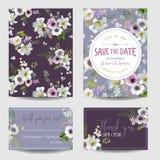 Sichern Sie die Datumskarte Lilie und Anemone Flowers Hochzeit, Einladung Lizenzfreie Stockfotos