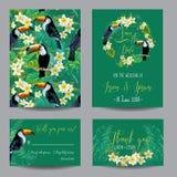 Sichern Sie die Datumskarte Tropische Blumen und Vögel Stockfoto