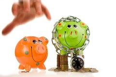 Sichern Sie und unsecure Finanzen Lizenzfreie Stockfotografie