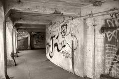 Sicherung einer furchtsamen schmutzigen Stadt-Unterführung Stockbilder