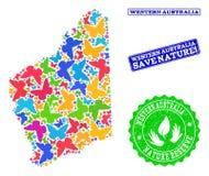 Sicherungs- Natur-Collage der Karte von West-Australien mit Schmetterlingen und Bedrängnis-Stempeln lizenzfreie abbildung