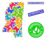 Sicherungsnatur-Collage der Karte des Staat Mississippis mit Schmetterlingen und Bedrängnis-Stempeln vektor abbildung