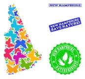 Sicherungsnatur-Collage der Karte des Staat New Hampshire mit Schmetterlingen und Schmutz-Stempeln stock abbildung