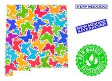 Sicherungsnatur-Collage der Karte des Staat New Mexiko mit Schmetterlingen und Schmutz-Dichtungen lizenzfreie abbildung