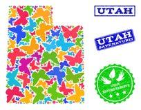 Sicherungsnatur-Collage der Karte des Staat Utahs mit Schmetterlingen und Schmutz-Wasserzeichen vektor abbildung