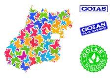 Sicherungsnatur-Collage der Karte Goias-Zustandes mit Schmetterlingen und Schmutz-Stempeln lizenzfreie abbildung