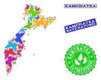 Sicherungsnatur-Collage der Karte der Halbinsel Kamtschatka mit Schmetterlingen und verkratzten Stempeln stock abbildung
