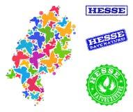 Sicherungsnatur-Collage der Karte Hessen-Staates mit Schmetterlingen und Bedrängnis-Dichtungen lizenzfreie abbildung