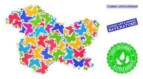 Sicherungsnatur-Collage der Karte Jammu und Kashmir Staates mit Schmetterlingen und Bedrängnis-Stempeln lizenzfreie abbildung