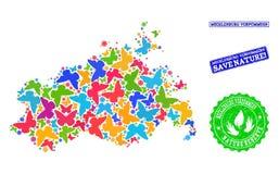 Sicherungsnatur-Collage der Karte Mecklenburg-Vorpommernstaates mit Schmetterlingen und Stempeln lizenzfreie abbildung