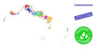 Sicherungsnatur-Collage der Karte der Turks- und Caicosinseln mit Schmetterlingen und Stempeln vektor abbildung