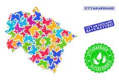Sicherungsnatur-Collage der Karte Uttarakhand-Zustandes mit Schmetterlingen und Schmutz-Dichtungen vektor abbildung