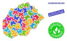 Sicherungsnatur-Collage der Karte von Alegranza-Insel mit Schmetterlingen und Bedrängnis-Dichtungen vektor abbildung