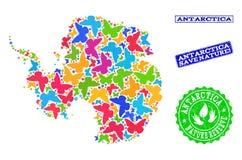 Sicherungsnatur-Collage der Karte von der Antarktis mit Schmetterlingen und Bedrängnis-Stempeln lizenzfreie abbildung