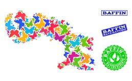 Sicherungsnatur-Collage der Karte von Baffin-Insel mit Schmetterlingen und Schmutz-Wasserzeichen vektor abbildung