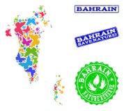 Sicherungsnatur-Collage der Karte von Bahrain mit Schmetterlingen und strukturierten Stempeln stock abbildung