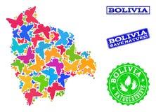 Sicherungsnatur-Collage der Karte von Bolivien mit Schmetterlingen und Stempeln vektor abbildung