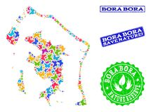 Sicherungsnatur-Collage der Karte von Bora-Bora mit Schmetterlingen und Bedrängnis-Stempeln lizenzfreie abbildung