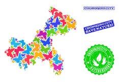 Sicherungsnatur-Collage der Karte von Chongqing Municipality mit Schmetterlingen und Bedrängnis-Wasserzeichen lizenzfreie abbildung