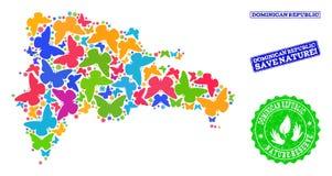 Sicherungsnatur-Collage der Karte von Dominikanischer Republik mit Schmetterlingen und verkratzten Dichtungen stock abbildung