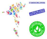 Sicherungsnatur-Collage der Karte von Färöern mit Schmetterlingen und Schmutz-Stempeln stock abbildung