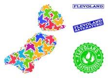 Sicherungsnatur-Collage der Karte von Flevoland-Provinz mit Schmetterlingen und verkratzten Wasserzeichen stock abbildung